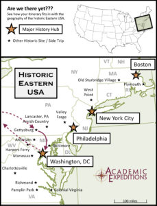 Map of the East Coast of the U.S. with points of interest marked by stars