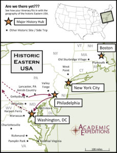 Map of the East Coast of the U.S. with points of interest