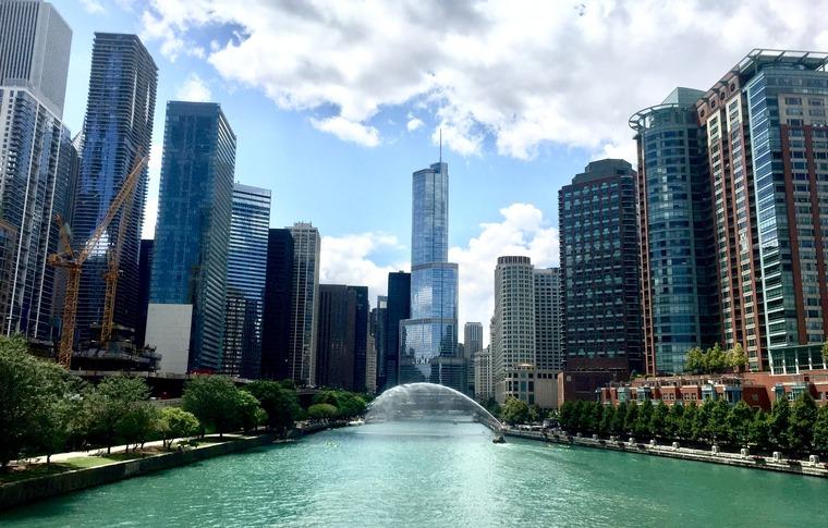 Chicago skyine and blue sky